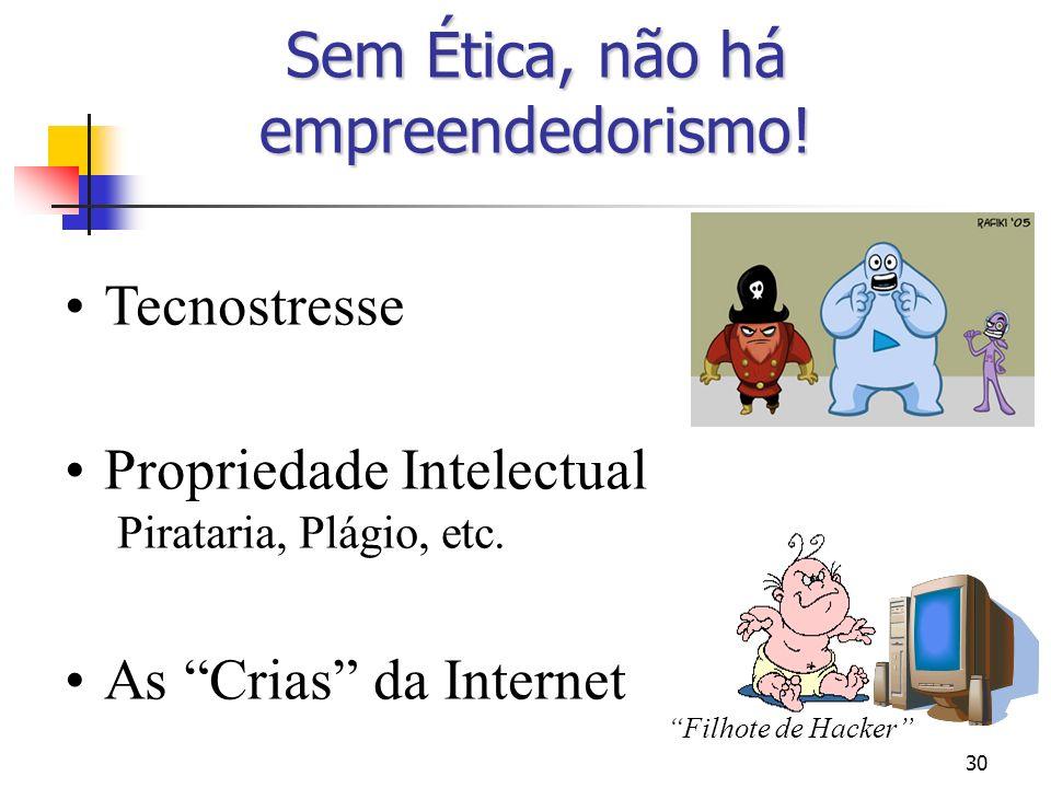30 Sem Ética, não há empreendedorismo! Tecnostresse Propriedade Intelectual Pirataria, Plágio, etc. As Crias da Internet Filhote de Hacker