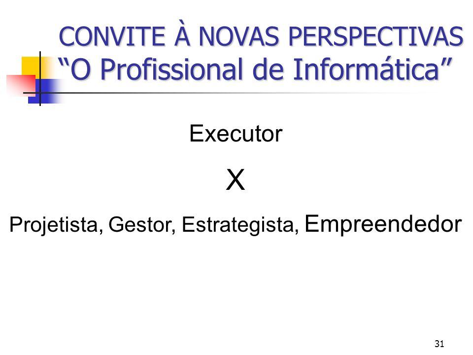 31 CONVITE À NOVAS PERSPECTIVAS O Profissional de Informática Executor X Projetista, Gestor, Estrategista, Empreendedor