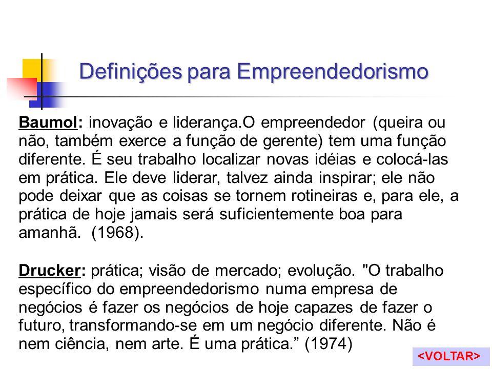 Baumol: inovação e liderança.O empreendedor (queira ou não, também exerce a função de gerente) tem uma função diferente. É seu trabalho localizar nova
