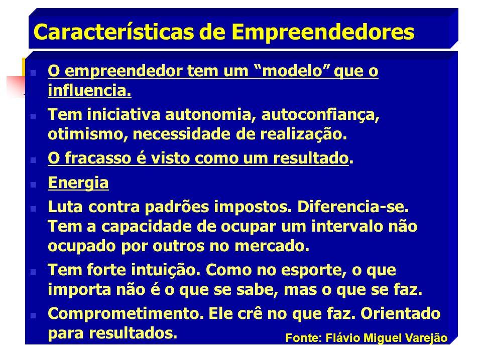 Características de Empreendedores O empreendedor tem um modelo que o influencia. Tem iniciativa autonomia, autoconfiança, otimismo, necessidade de rea
