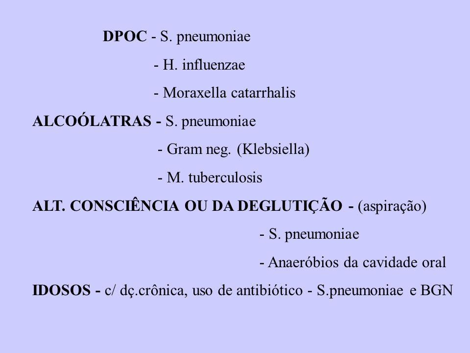 DPOC - S. pneumoniae - H. influenzae - Moraxella catarrhalis ALCOÓLATRAS - S. pneumoniae - Gram neg. (Klebsiella) - M. tuberculosis ALT. CONSCIÊNCIA O