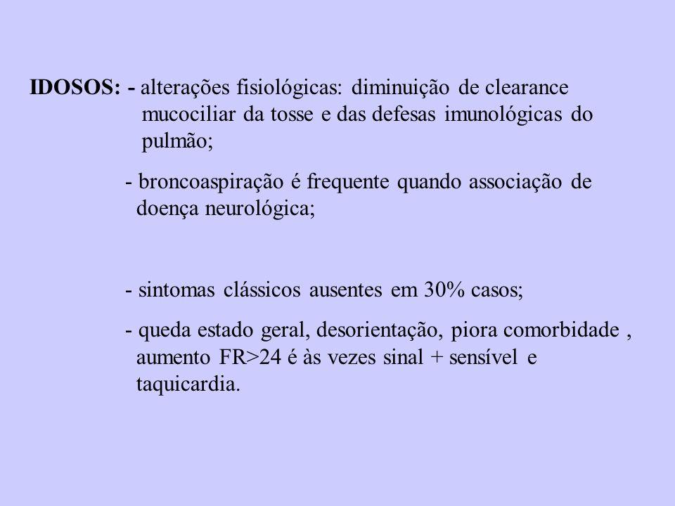 IDOSOS: - alterações fisiológicas: diminuição de clearance mucociliar da tosse e das defesas imunológicas do pulmão; - broncoaspiração é frequente qua