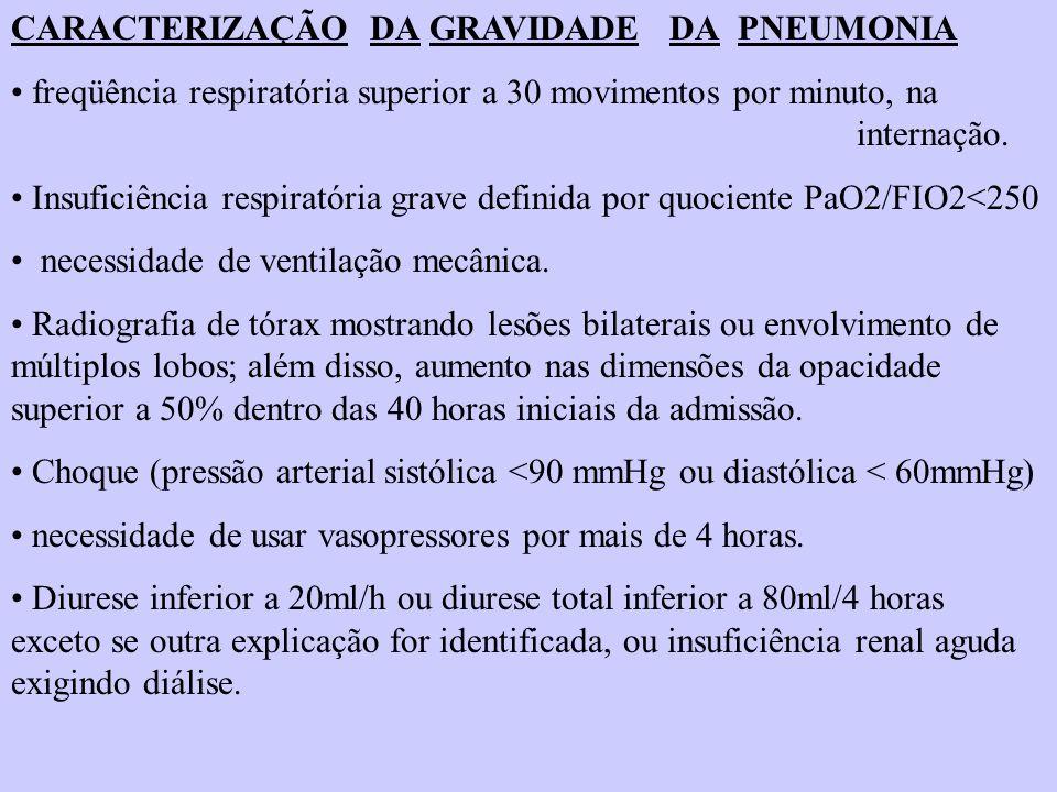 CARACTERIZAÇÃO DA GRAVIDADE DA PNEUMONIA freqüência respiratória superior a 30 movimentos por minuto, na internação. Insuficiência respiratória grave