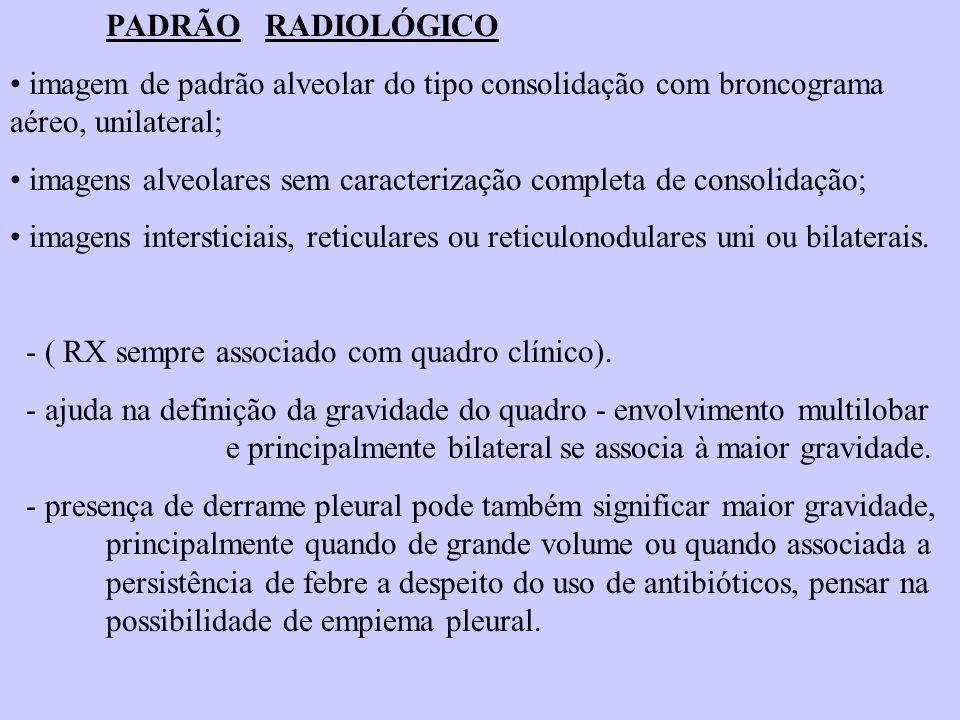 PADRÃO RADIOLÓGICO imagem de padrão alveolar do tipo consolidação com broncograma aéreo, unilateral; imagens alveolares sem caracterização completa de