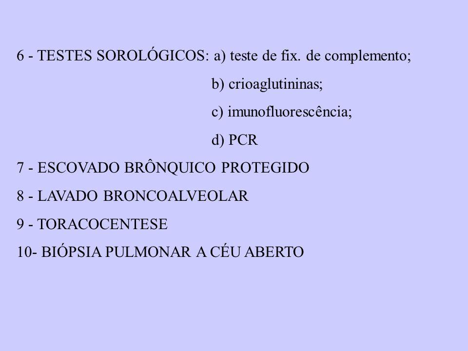 6 - TESTES SOROLÓGICOS: a) teste de fix. de complemento; b) crioaglutininas; c) imunofluorescência; d) PCR 7 - ESCOVADO BRÔNQUICO PROTEGIDO 8 - LAVADO