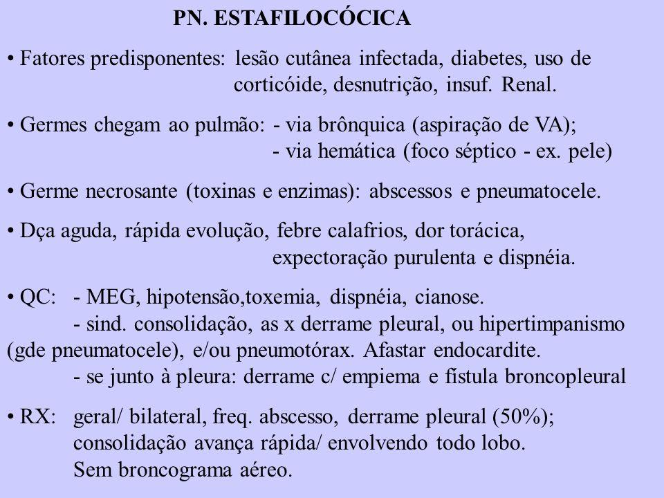 PN. ESTAFILOCÓCICA Fatores predisponentes: lesão cutânea infectada, diabetes, uso de corticóide, desnutrição, insuf. Renal. Germes chegam ao pulmão: -