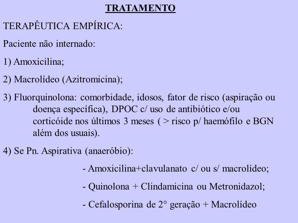 TRATAMENTO TERAPÊUTICA EMPÍRICA: Paciente não internado: 1) Amoxicilina; 2) Macrolídeo (Azitromicina); 3) Fluorquinolona: comorbidade, idosos, fator d