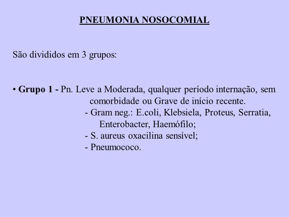 PNEUMONIA NOSOCOMIAL São divididos em 3 grupos: Grupo 1 - Pn. Leve a Moderada, qualquer período internação, sem comorbidade ou Grave de início recente