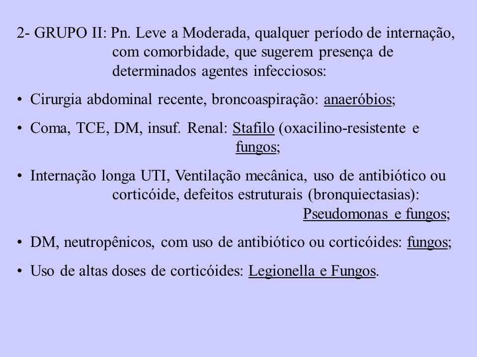 2- GRUPO II: Pn. Leve a Moderada, qualquer período de internação, com comorbidade, que sugerem presença de determinados agentes infecciosos: Cirurgia