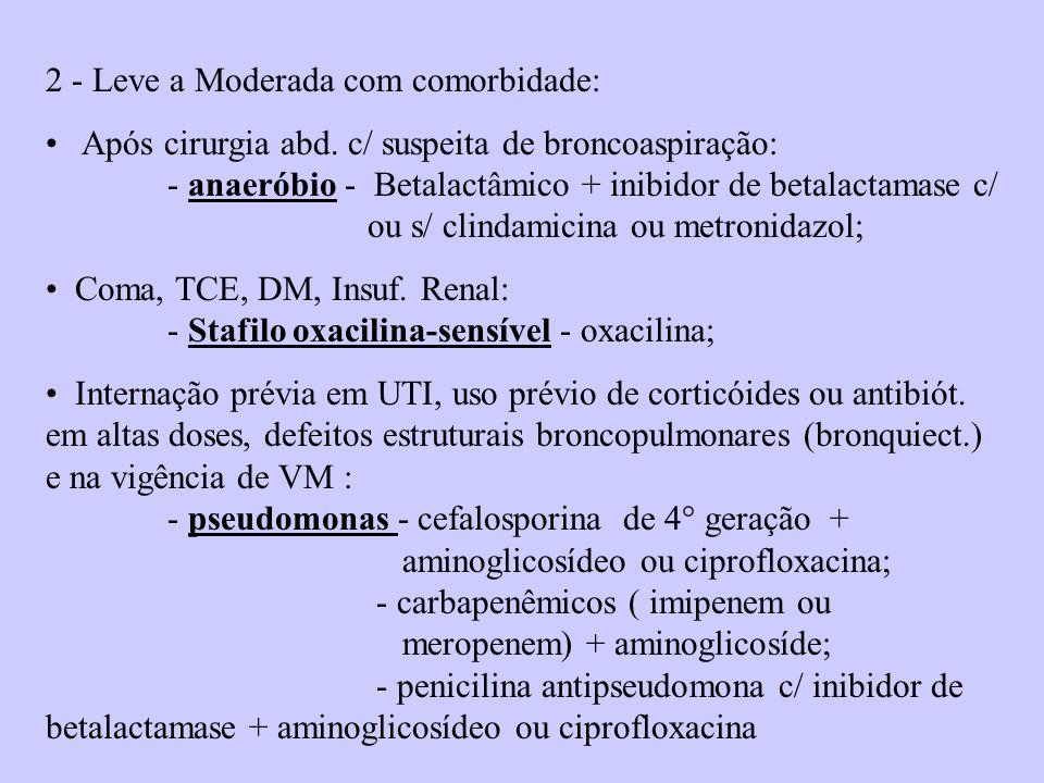 2 - Leve a Moderada com comorbidade: Após cirurgia abd. c/ suspeita de broncoaspiração: - anaeróbio - Betalactâmico + inibidor de betalactamase c/ ou