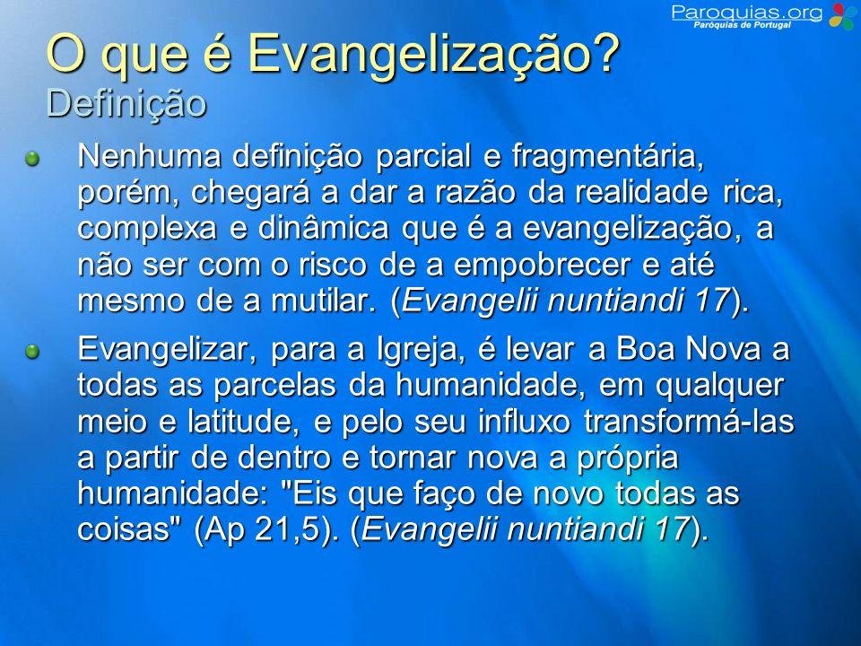 O que é Evangelização.Missão e Necessidade Toda a Igreja é missionária.