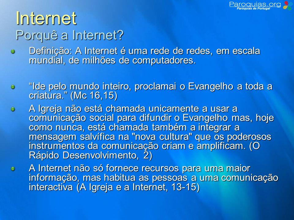 Internet Como evangelizar na Internet De diversas formas… Comunicação (e-mail, Chat, Mensagens Instantâneas, VoIP,…) Divulgação (WWW, páginas web, portais, …) Interacção (forum, blog, wiki, social networking, social bookmarking, …) Situação Actual Garrafa meia vazia: Não existe quase nada.