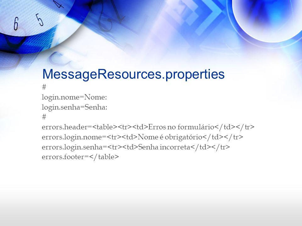 MessageResources.properties # login.nome=Nome: login.senha=Senha: # errors.header= Erros no formulário errors.login.nome= Nome é obrigatório errors.lo