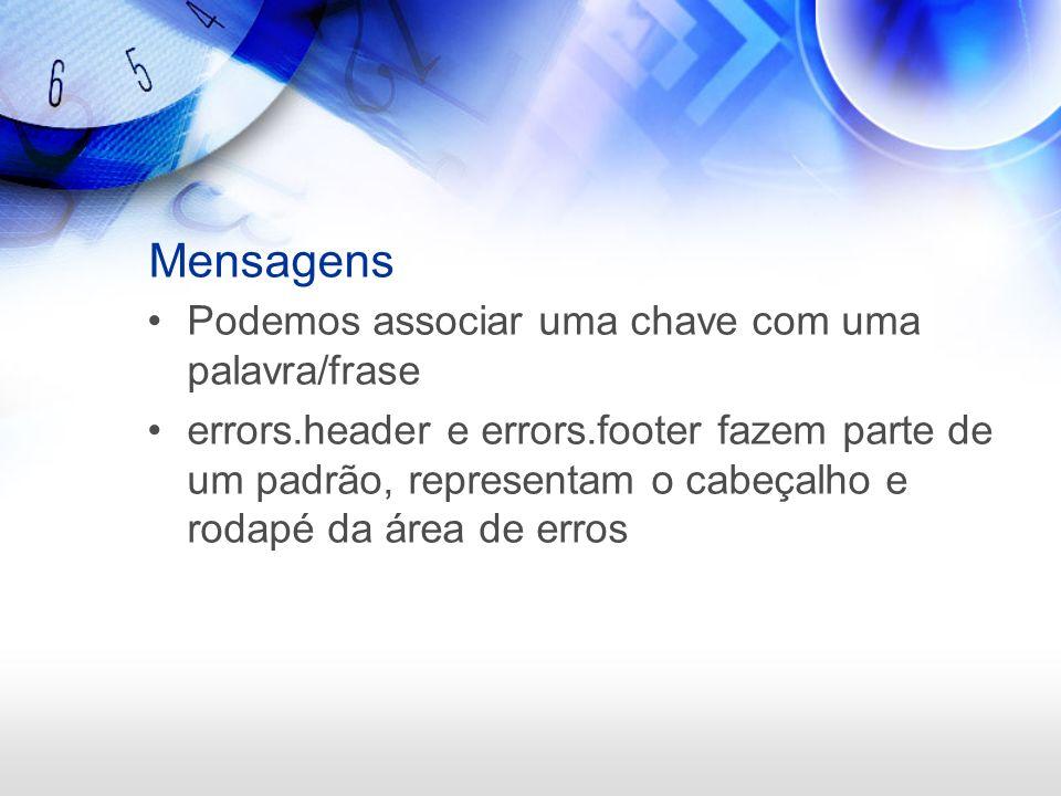 Mensagens Podemos associar uma chave com uma palavra/frase errors.header e errors.footer fazem parte de um padrão, representam o cabeçalho e rodapé da