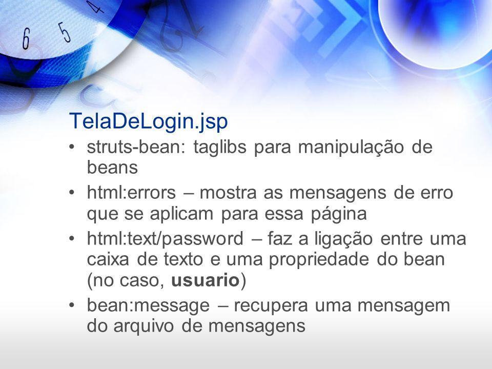 TelaDeLogin.jsp struts-bean: taglibs para manipulação de beans html:errors – mostra as mensagens de erro que se aplicam para essa página html:text/pas