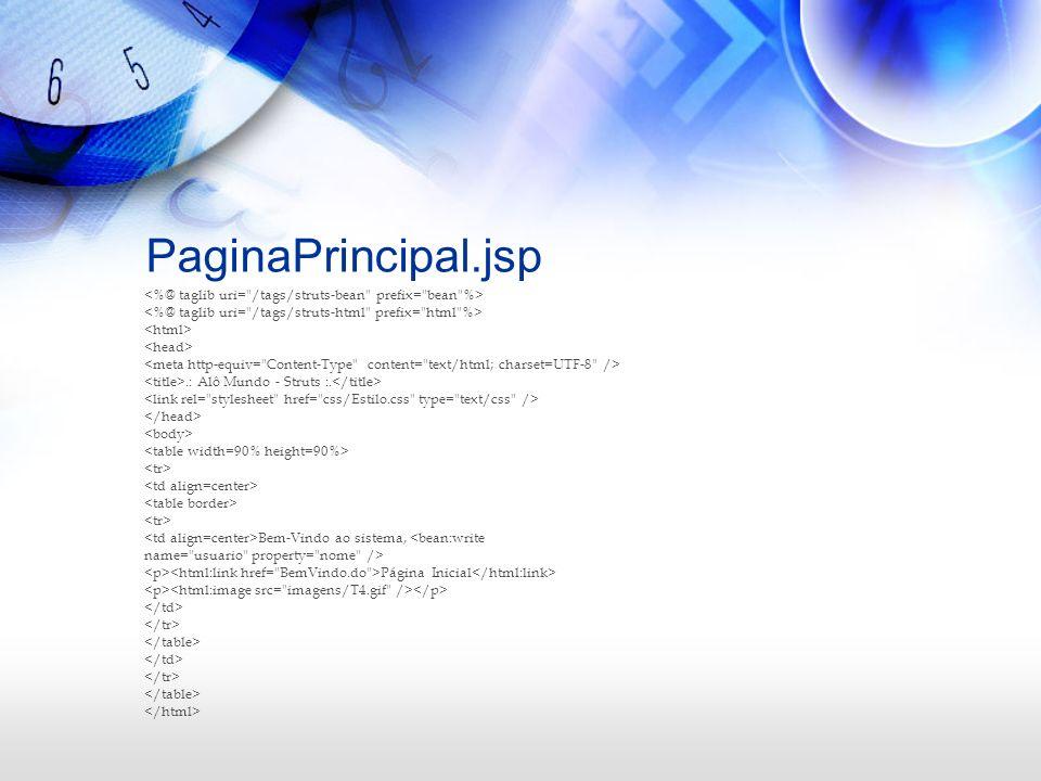 PaginaPrincipal.jsp.: Alô Mundo - Struts :. Bem-Vindo ao sistema, <bean:write name=