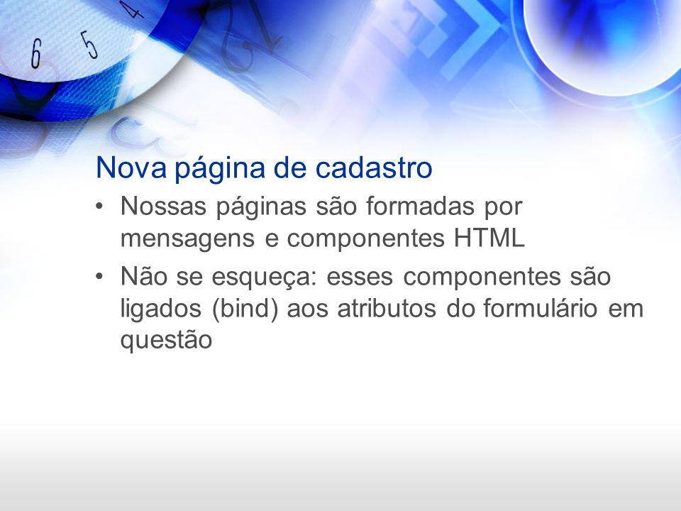 Nova página de cadastro Nossas páginas são formadas por mensagens e componentes HTML Não se esqueça: esses componentes são ligados (bind) aos atributo