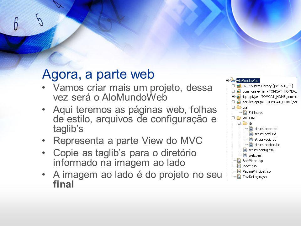 Para acessar a aplicação http://localhost:8080/alomundo A url acima irá acessar a página index.jsp que irá redirecionar a aplicação para BemVindo.do A partir desse momento o controller do Struts estará controlando a aplicação