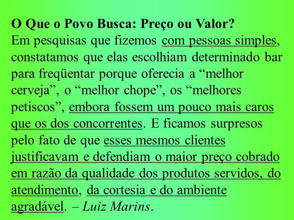 O Que o Povo Busca: Preço ou Valor.Conclusão Inapelável: Não existe, pois, caro nem barato.