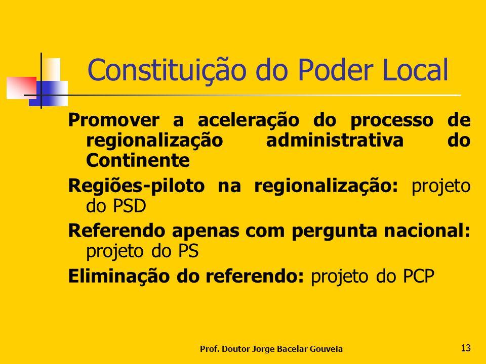 Prof. Doutor Jorge Bacelar Gouveia 13 Constituição do Poder Local Promover a aceleração do processo de regionalização administrativa do Continente Reg