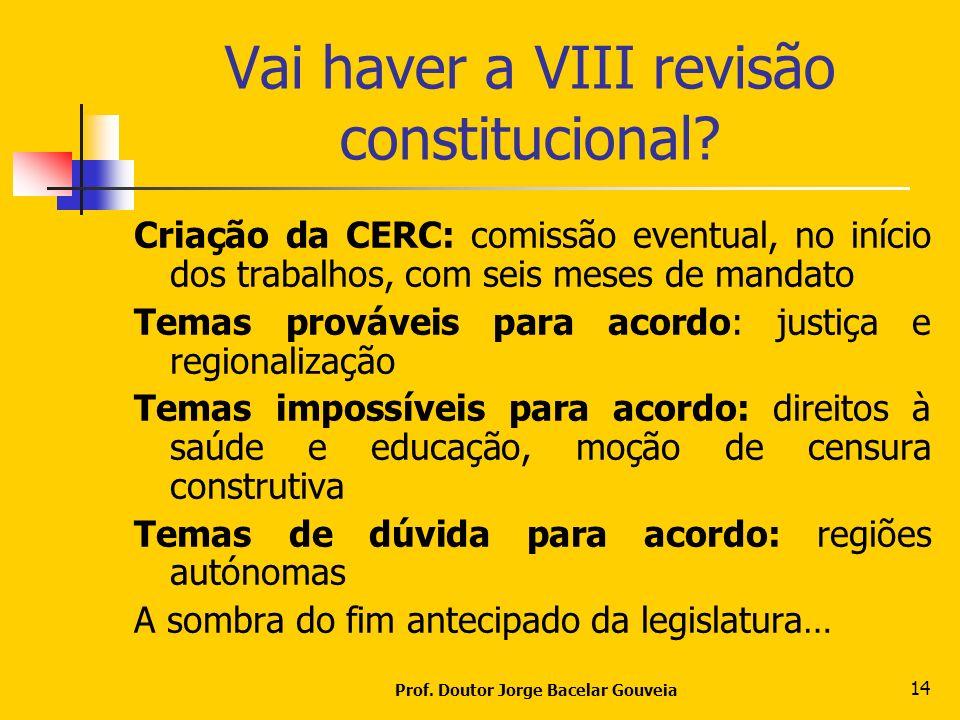 Prof. Doutor Jorge Bacelar Gouveia 14 Vai haver a VIII revisão constitucional? Criação da CERC: comissão eventual, no início dos trabalhos, com seis m