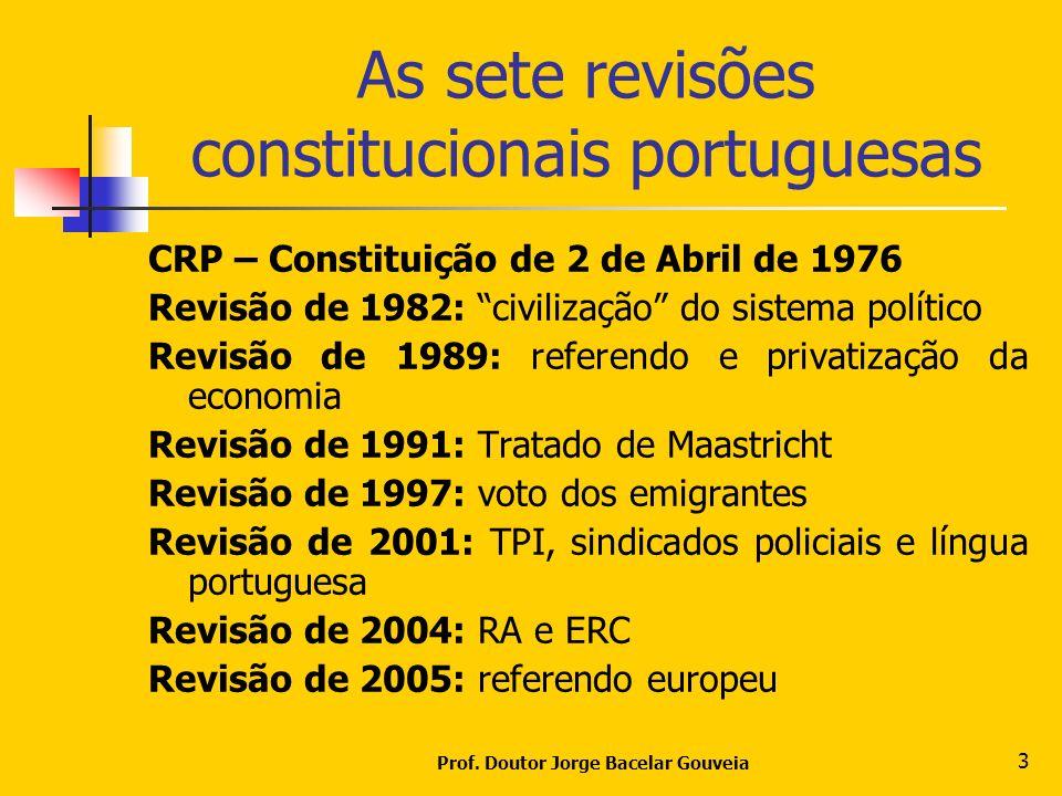Prof. Doutor Jorge Bacelar Gouveia 3 As sete revisões constitucionais portuguesas CRP – Constituição de 2 de Abril de 1976 Revisão de 1982: civilizaçã