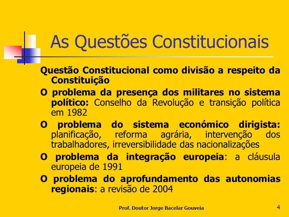 Prof. Doutor Jorge Bacelar Gouveia 4 As Questões Constitucionais Questão Constitucional como divisão a respeito da Constituição O problema da presença