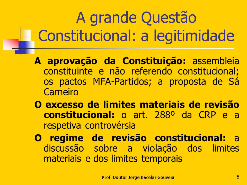Prof. Doutor Jorge Bacelar Gouveia 5 A grande Questão Constitucional: a legitimidade A aprovação da Constituição: assembleia constituinte e não refere