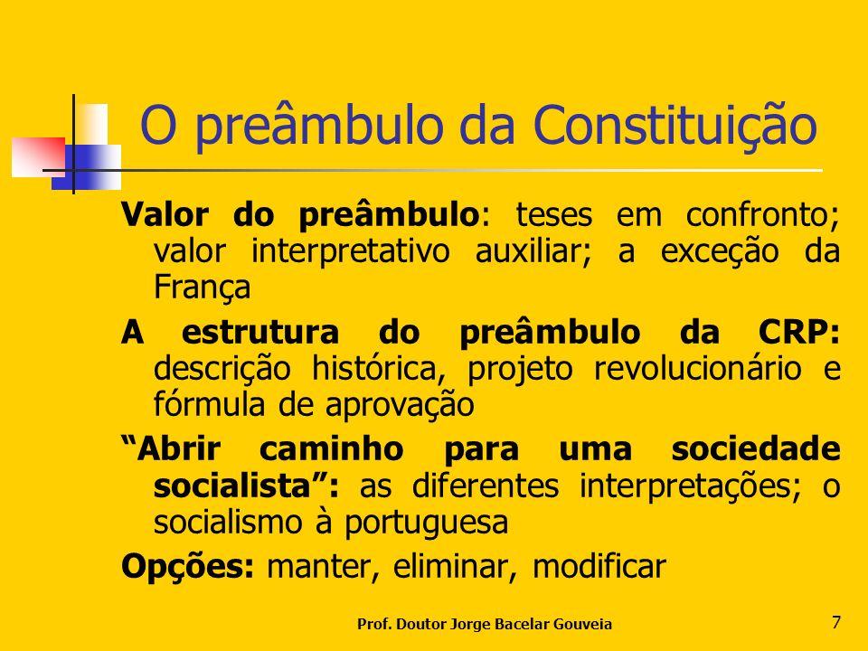 Prof. Doutor Jorge Bacelar Gouveia 7 O preâmbulo da Constituição Valor do preâmbulo: teses em confronto; valor interpretativo auxiliar; a exceção da F