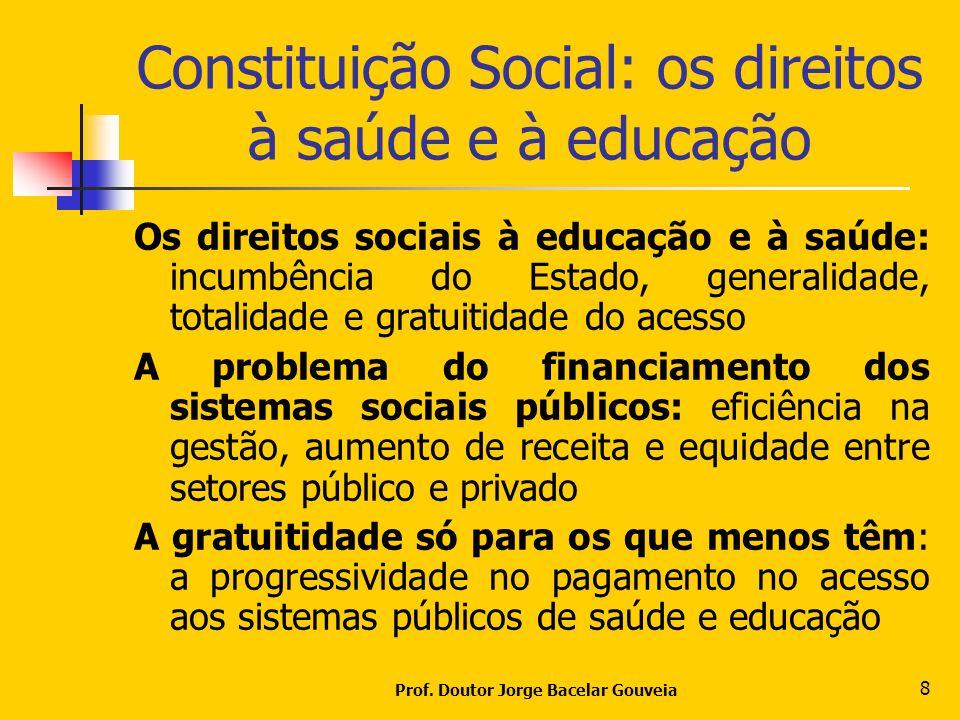 Prof. Doutor Jorge Bacelar Gouveia 8 Constituição Social: os direitos à saúde e à educação Os direitos sociais à educação e à saúde: incumbência do Es