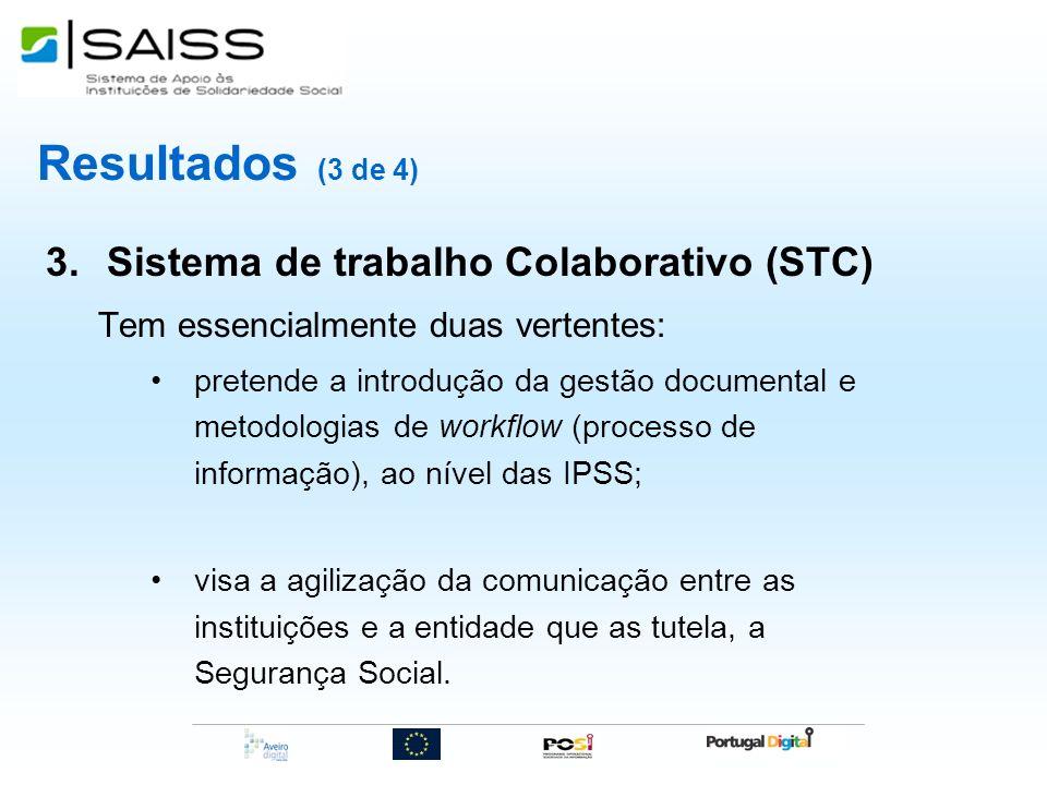 Resultados (3 de 4) 3.Sistema de trabalho Colaborativo (STC) Tem essencialmente duas vertentes: pretende a introdução da gestão documental e metodolog