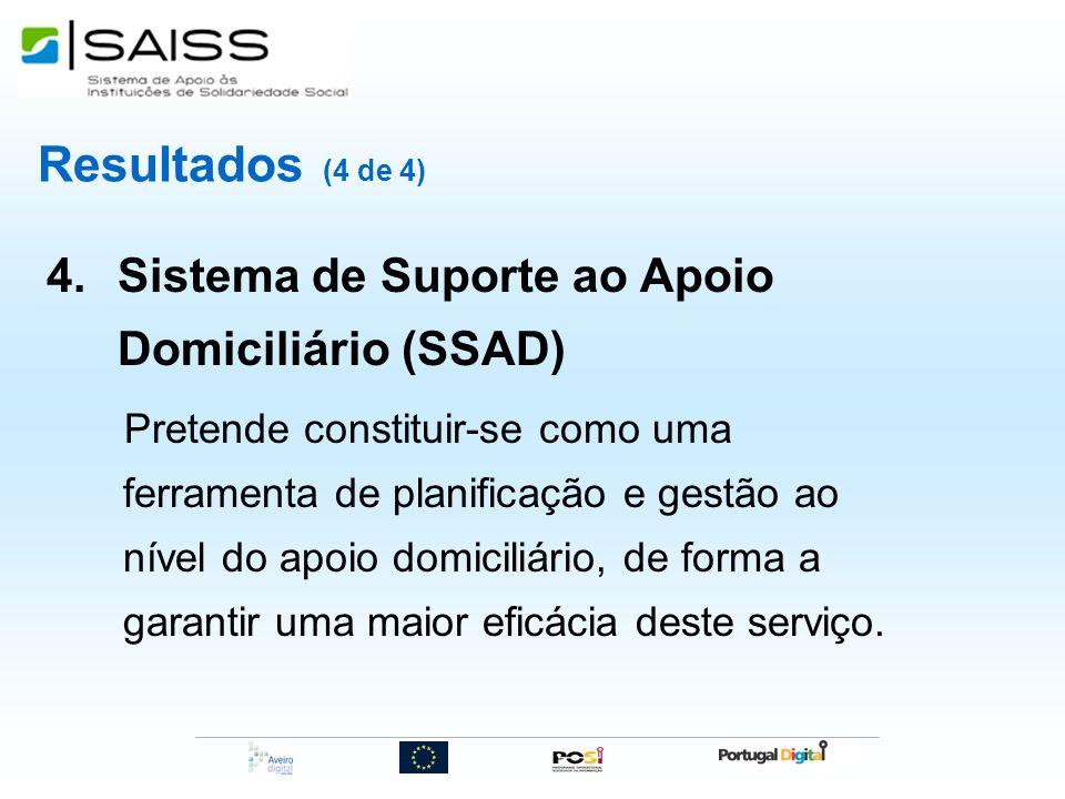 Resultados (4 de 4) 4.Sistema de Suporte ao Apoio Domiciliário (SSAD) Pretende constituir-se como uma ferramenta de planificação e gestão ao nível do