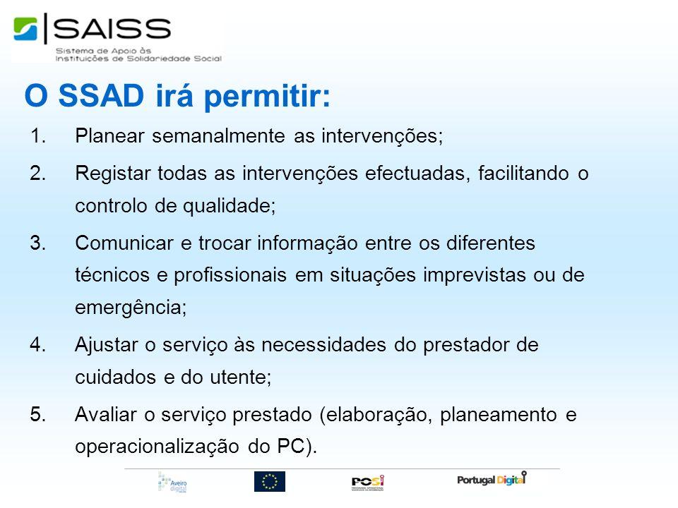 O SSAD irá permitir: 1.Planear semanalmente as intervenções; 2.Registar todas as intervenções efectuadas, facilitando o controlo de qualidade; 3.Comun