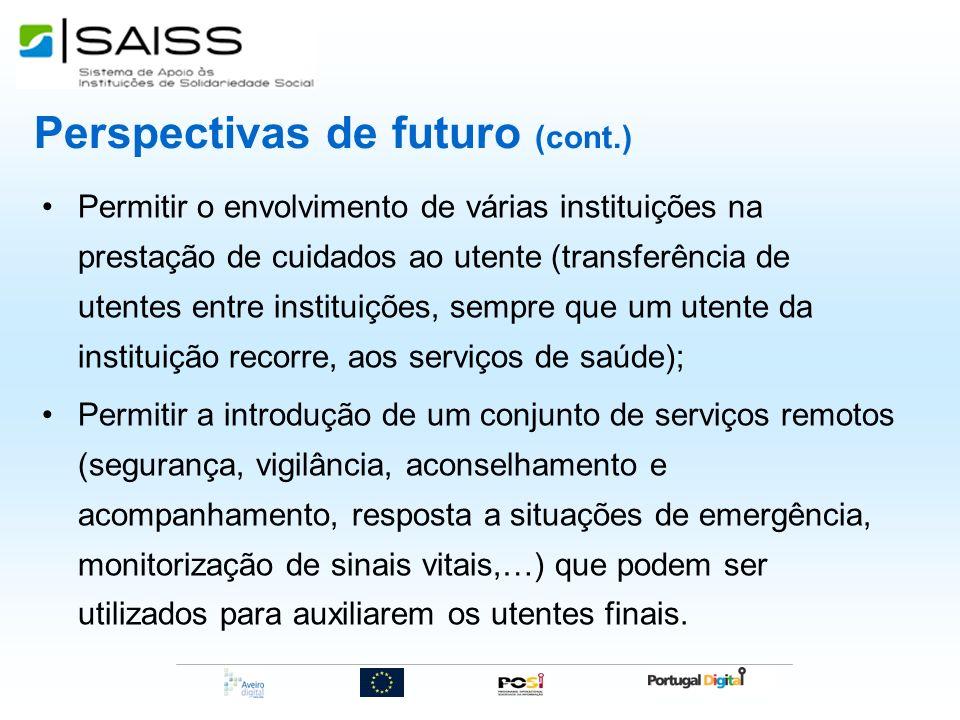Perspectivas de futuro (cont.) Permitir o envolvimento de várias instituições na prestação de cuidados ao utente (transferência de utentes entre insti