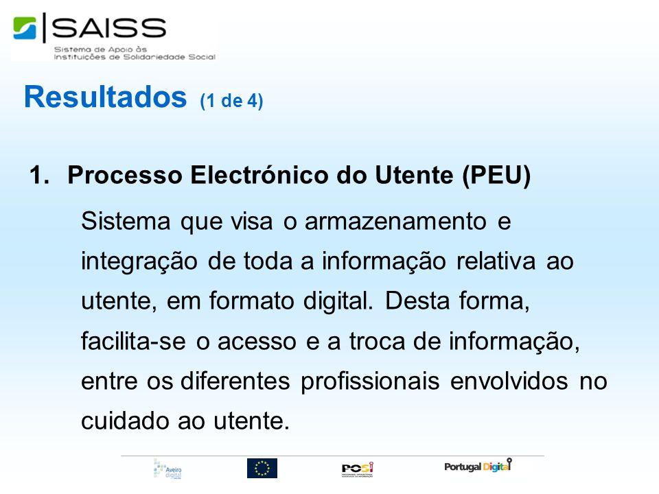 Resultados (1 de 4) 1.Processo Electrónico do Utente (PEU) Sistema que visa o armazenamento e integração de toda a informação relativa ao utente, em f