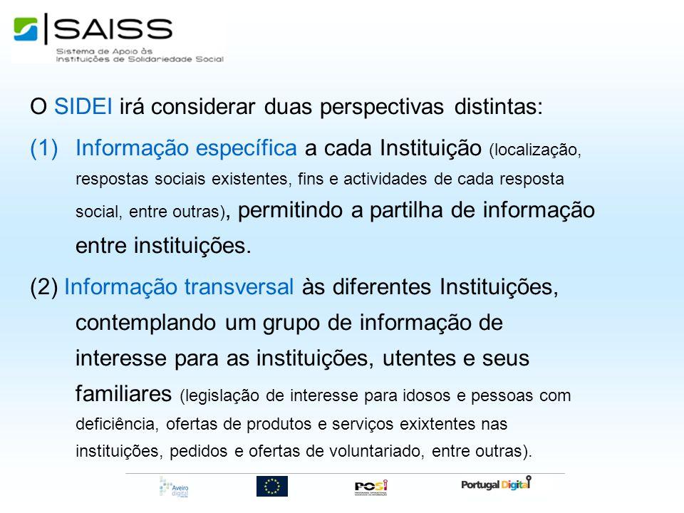 O SIDEI irá considerar duas perspectivas distintas: (1)Informação específica a cada Instituição (localização, respostas sociais existentes, fins e act
