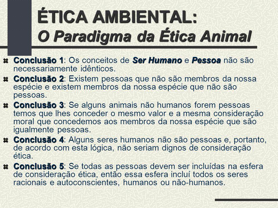 ÉTICA AMBIENTAL: O Paradigma da Ética Animal R: A como critério de consideração ética.