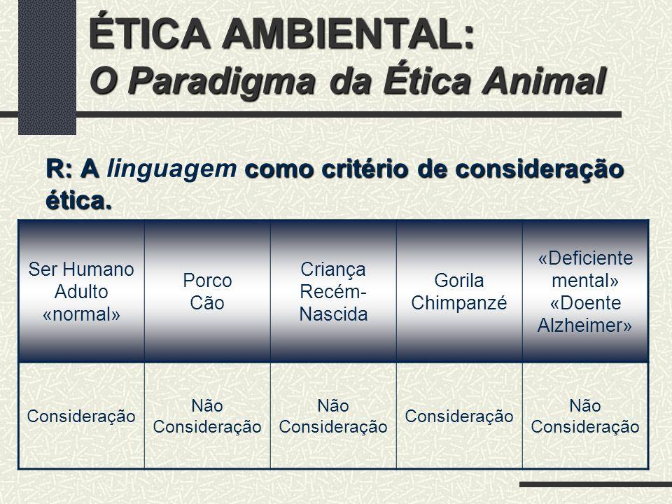 ÉTICA AMBIENTAL: O Paradigma da Ética Animal R: A Senciência como critério de consideração ética.