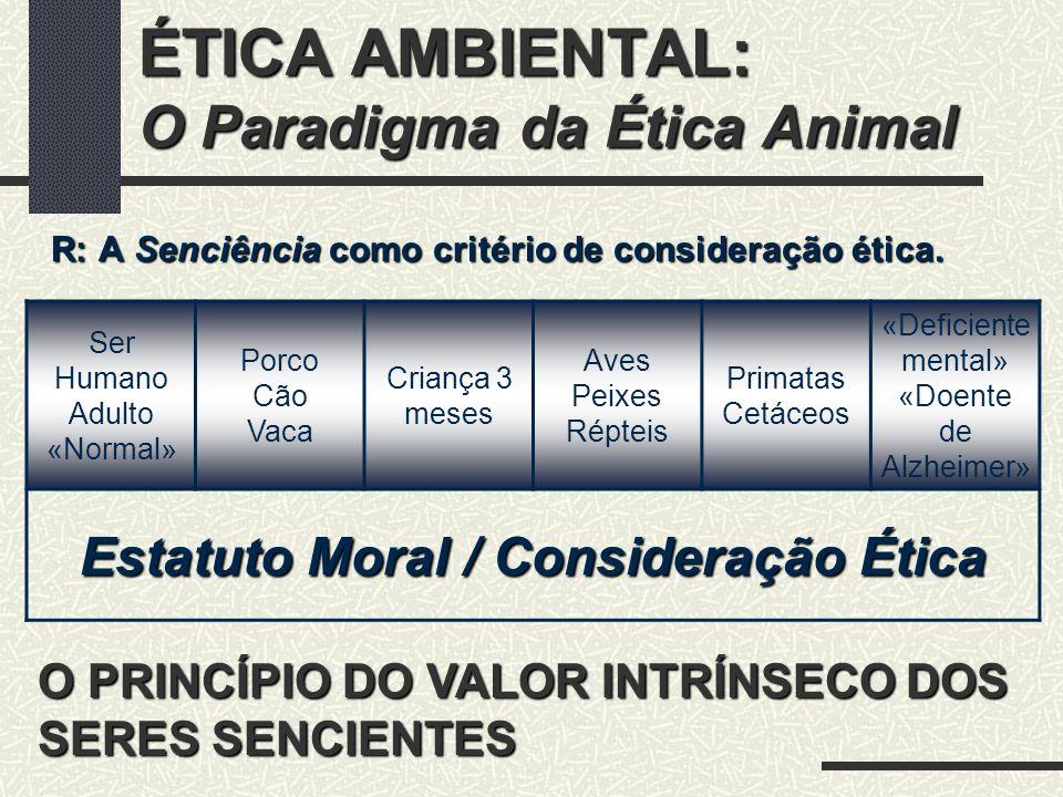 ÉTICA AMBIENTAL: O Paradigma da Ética Animal senciência Se um ser sofre não pode haver nenhuma justificação moral para recusar ter o sofrimento em consideração.