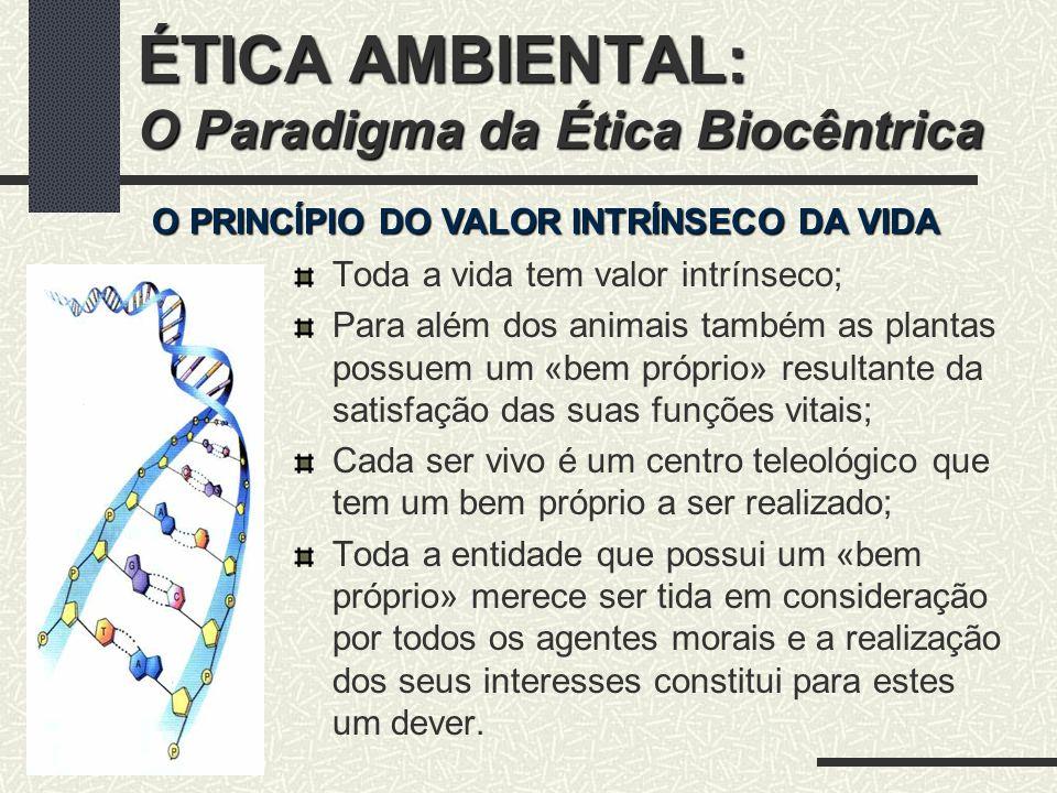 ÉTICA AMBIENTAL: O Paradigma da Ética Biocêntrica Todo o ser vivo procura o seu próprio bem à sua maneira única.