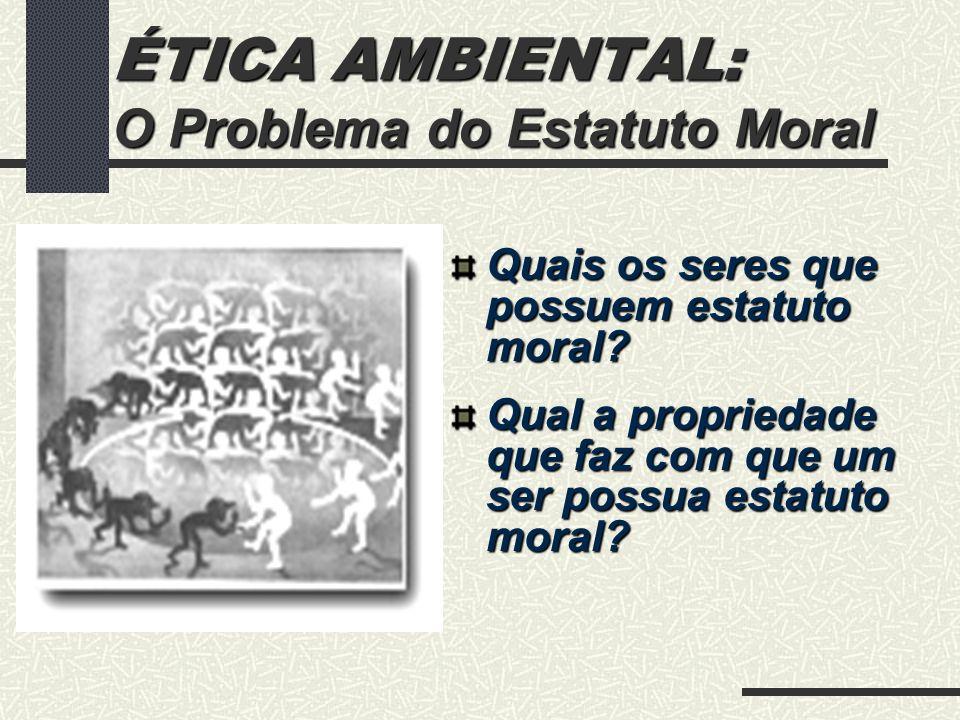 ÉTICA AMBIENTAL: O Problema do Estatuto Moral Estatuto Moral 1.