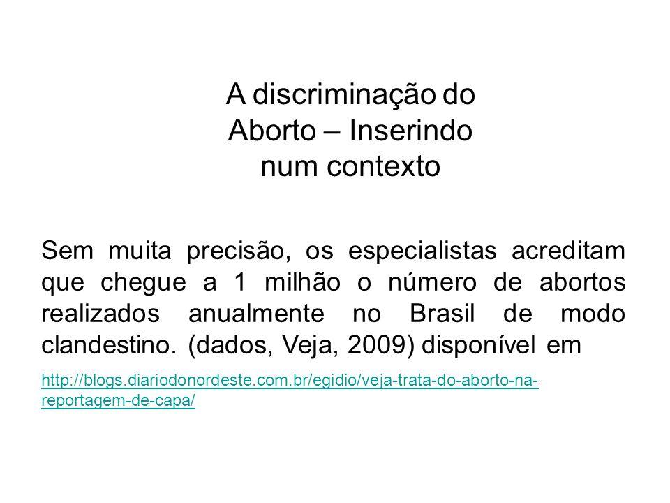 Sem muita precisão, os especialistas acreditam que chegue a 1 milhão o número de abortos realizados anualmente no Brasil de modo clandestino. (dados,