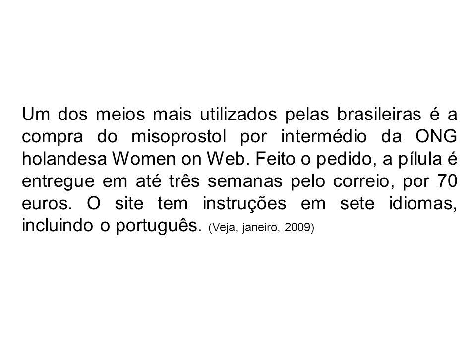 Um dos meios mais utilizados pelas brasileiras é a compra do misoprostol por intermédio da ONG holandesa Women on Web. Feito o pedido, a pílula é entr