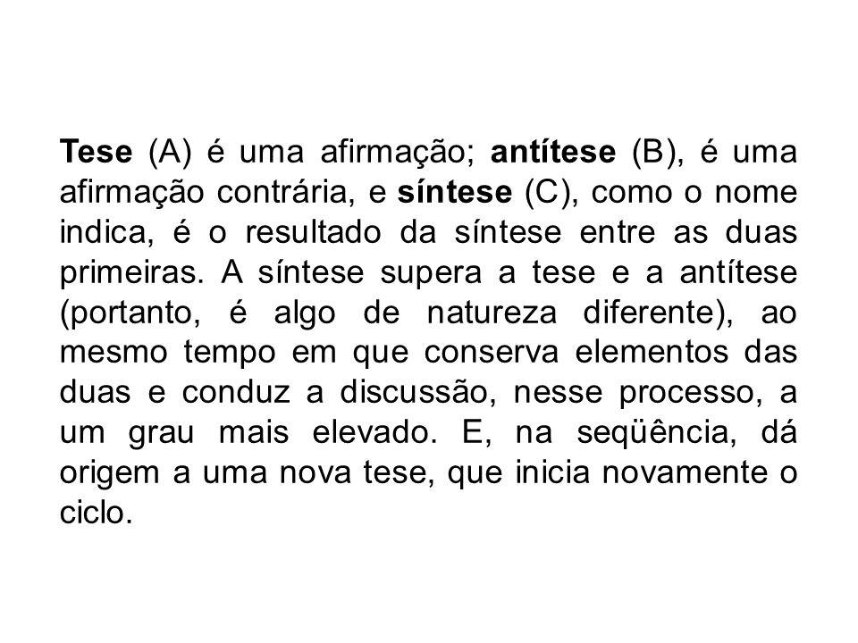 Tese (A) é uma afirmação; antítese (B), é uma afirmação contrária, e síntese (C), como o nome indica, é o resultado da síntese entre as duas primeiras