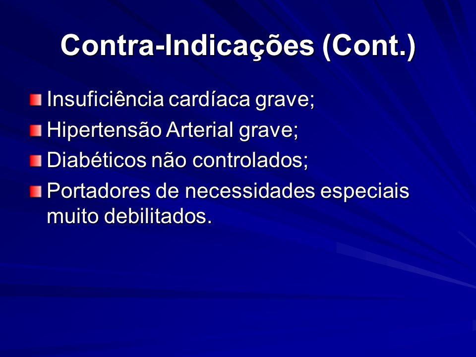 Contra-Indicações (Cont.) Insuficiência cardíaca grave; Hipertensão Arterial grave; Diabéticos não controlados; Portadores de necessidades especiais m