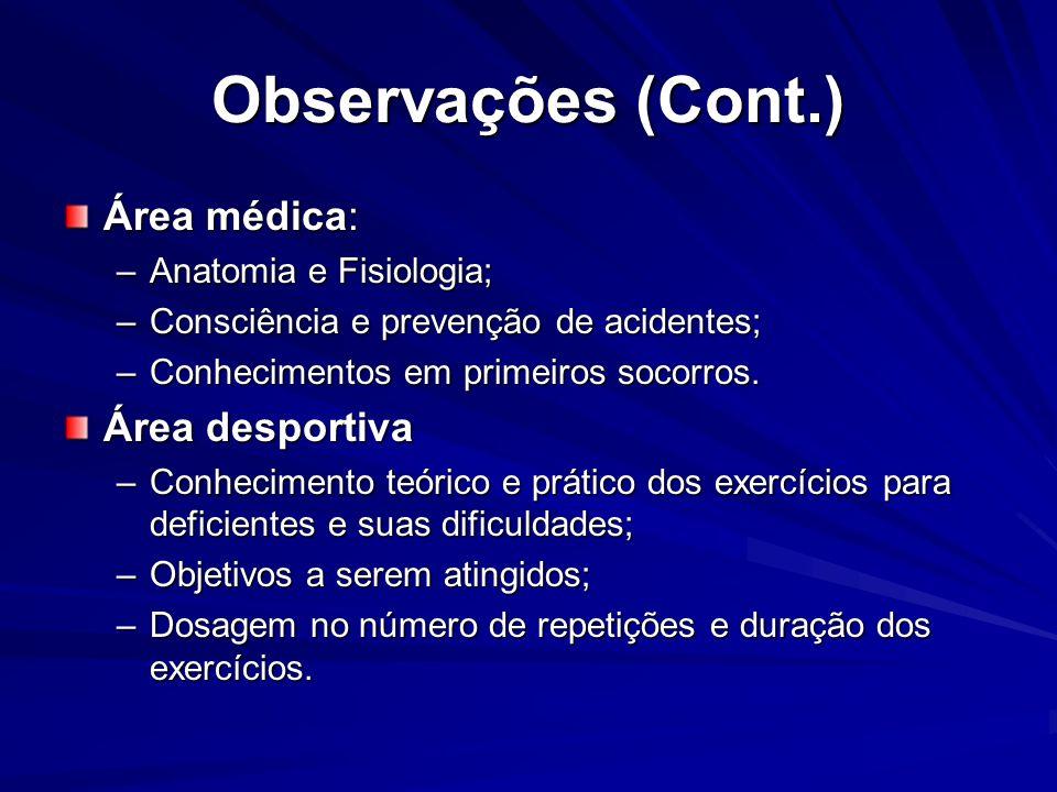 Observações (Cont.) Área médica: –Anatomia e Fisiologia; –Consciência e prevenção de acidentes; –Conhecimentos em primeiros socorros. Área desportiva