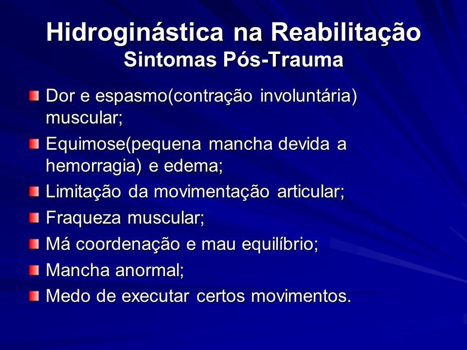 Hidroginástica na Reabilitação Sintomas Pós-Trauma Dor e espasmo(contração involuntária) muscular; Equimose(pequena mancha devida a hemorragia) e edem
