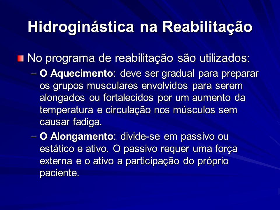 Hidroginástica na Reabilitação No programa de reabilitação são utilizados: –O Aquecimento: deve ser gradual para preparar os grupos musculares envolvi