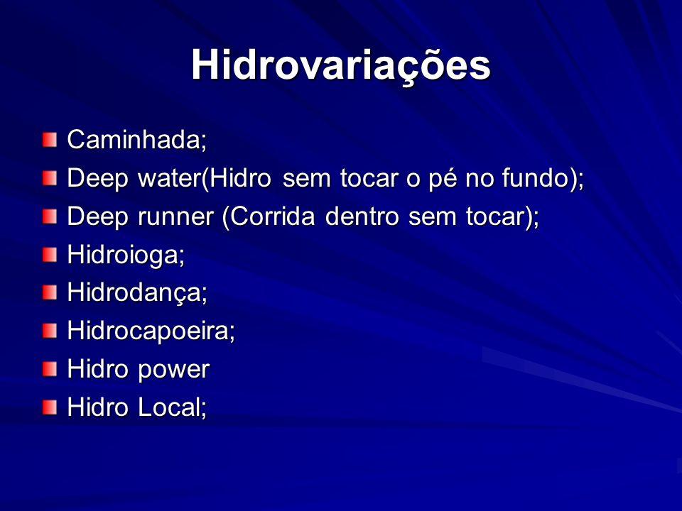 Hidrovariações Caminhada; Deep water(Hidro sem tocar o pé no fundo); Deep runner (Corrida dentro sem tocar); Hidroioga;Hidrodança;Hidrocapoeira; Hidro