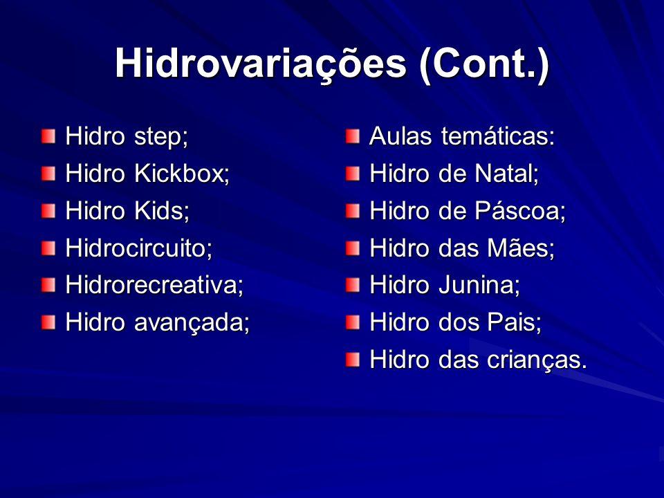 Hidrovariações (Cont.) Hidro step; Hidro Kickbox; Hidro Kids; Hidrocircuito;Hidrorecreativa; Hidro avançada; Aulas temáticas: Hidro de Natal; Hidro de